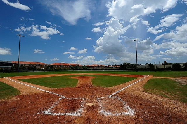 Miami baseball field wallpaper wall mural self adhesive for Baseball field wall mural