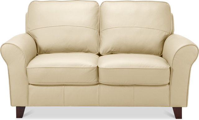 Byron 2 Seat Sofa Beige Leather Contemporary Sofas