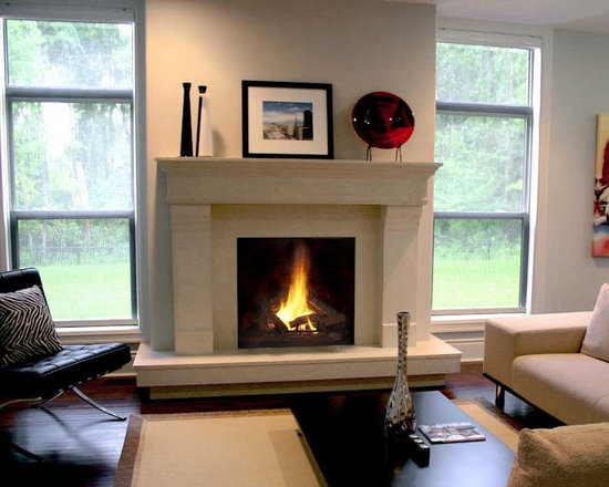Estate, Lightweight Concrete Mantel - Estate mantel with tiered hearth to accommodate raised fireplace.   Handmade in North America by DEKKO Concrete.  Available for shipment worldwide.