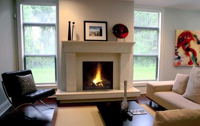 Estate, Lightweight Concrete Mantel contemporary-indoor-fireplaces