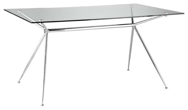 60 Rectangular Glass Top Dining Table: Eurostyle Atos 60 Inch Rectangular Glass Dining Table W