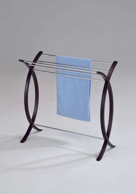 Chrome Walnut Finish Towel Bathroom Rack Stand contemporary-towels