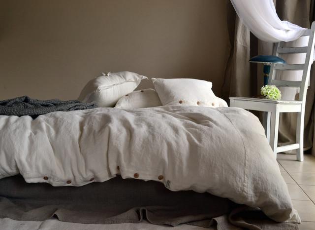 Rustic Rough Natural Duvet Cover White Linen