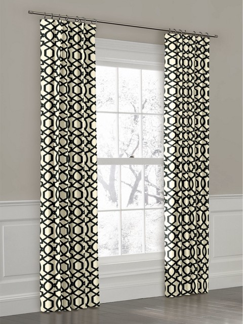 custom black and white geometric ring top drapery panel contemporary