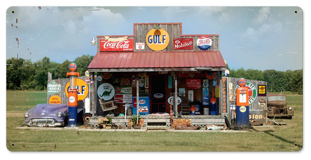 Vintage Gas Station Vintage Metal Sign modern-home-decor