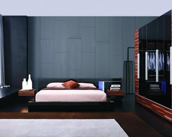 Exclusive Leather Designer Bedroom Set with Extra Storage - Modern black lacquer bedroom blue led light on the headboard. Prime Classic Design is obsessed with comfort and ease; it brings Modern Lacquer Bed finished in white finish for your loft.
