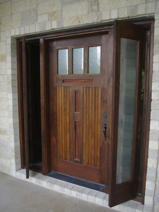Moore Residence - Walnut door unit with Teak bead board panels, inset cherry panels.  This photo shows the operating sidelites open.