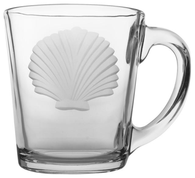 Seashell Clear Coffee Mug 13.5oz, Set of 4 tropical-mugs