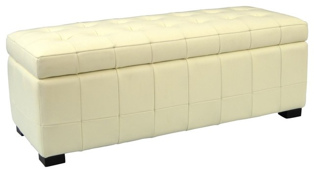 safavieh manhattan small storage bench cream leather