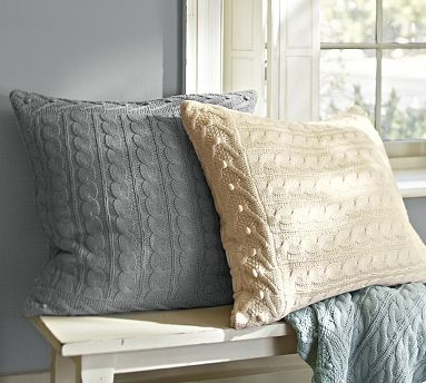 cable knit euro sham gray traditional pillowcases and shams by pottery barn. Black Bedroom Furniture Sets. Home Design Ideas