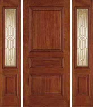 Jeld Wen 103 Genuine Mahogany Door And Sidelights Cherry Finish Traditional Front Doors