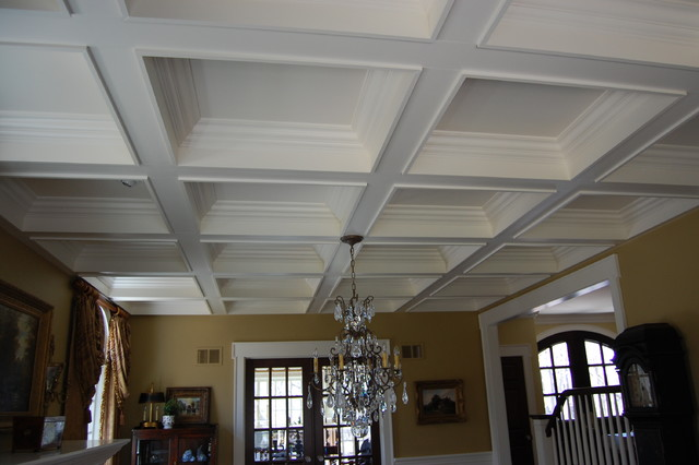 Painted coffered ceiling for Coffered ceiling paint ideas