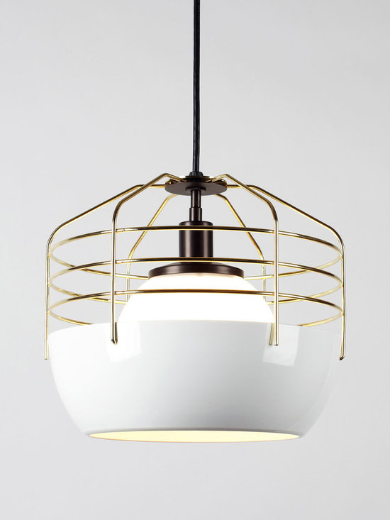 Bluff City Pendant - 14 inch - White/Brass - Bluff City merges a traditional pendant shade and a wire cage into an industrially inspired but refined pendant. A variety of finish combinations gives the light a vaguely postmodern feel that echoes the Memphis movement. However, the Tennessee town, known as Bluff City, was the inspiration for the series. By Jonah Takagi for Roll & Hill. Photo credit: Joseph de Leo