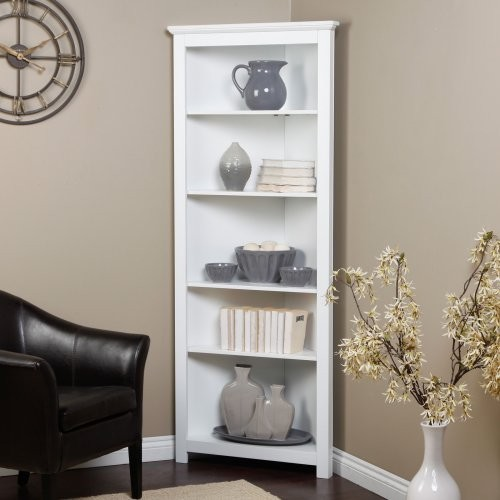 Redford White Corner Bookcase - Traditional - Bookcases - by Hayneedle