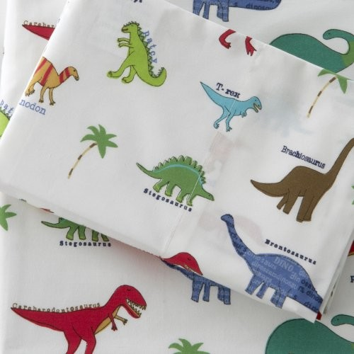 Traditions Linens Dino Roar 280 Thread Count Egyptian Cotton Sheet Set eclectic-kids-bedding