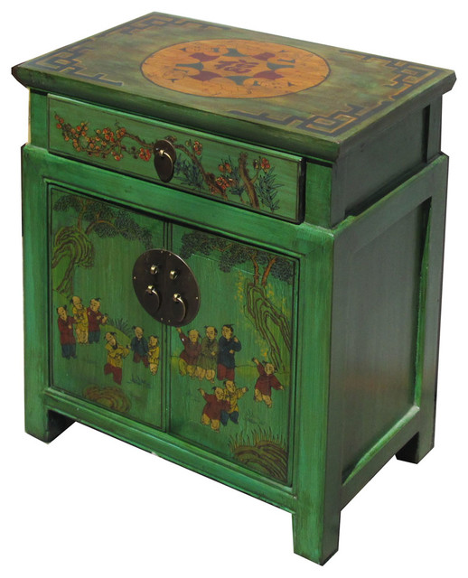 chinese green end table with kids playing graphic asian