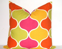 Pink/Orange Ogee Pillow Cover By kyoozi contemporary-pillows