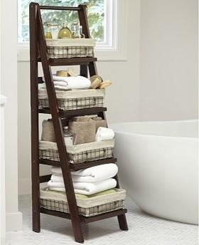 Rustic Bathroom Shelves : Benchwright Bath Ladder Storage Rustic Mahogany  Stain