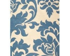 Damask blue transitional-rugs
