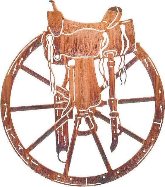 Western Symbols Saddle & Wagon Wheel Metal Wall Art - Rustic - Artwork ...