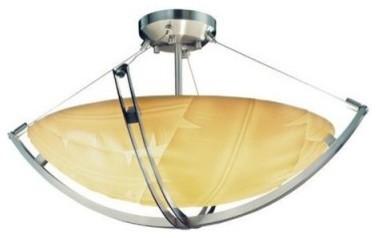 Justice Design Group Porcelina PNA-9712-35-BANL-NCKL 24 in. Semi-Flush Bowl with modern-ceiling-lighting