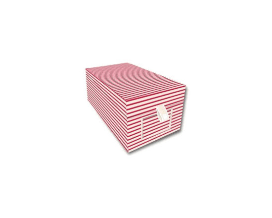 Business Card Box, Red and Cream -