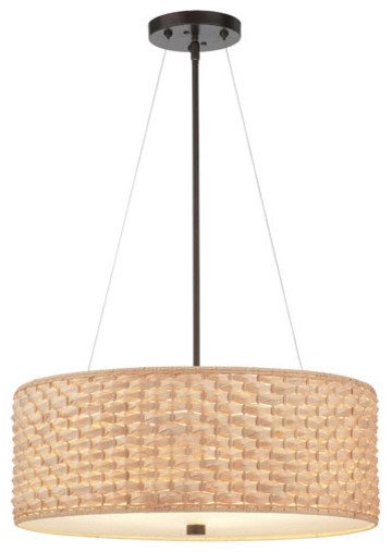 Mythic Three Light Merlot Bronze Drum Pendant contemporary-pendant-lighting