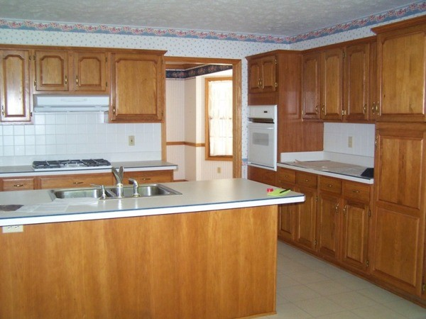 Dated 90s kitchen before farmhouse cleveland by for 90s kitchen remodel