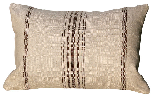 Cotton Lumbar in Natural Pillow with Brown Primitive ...