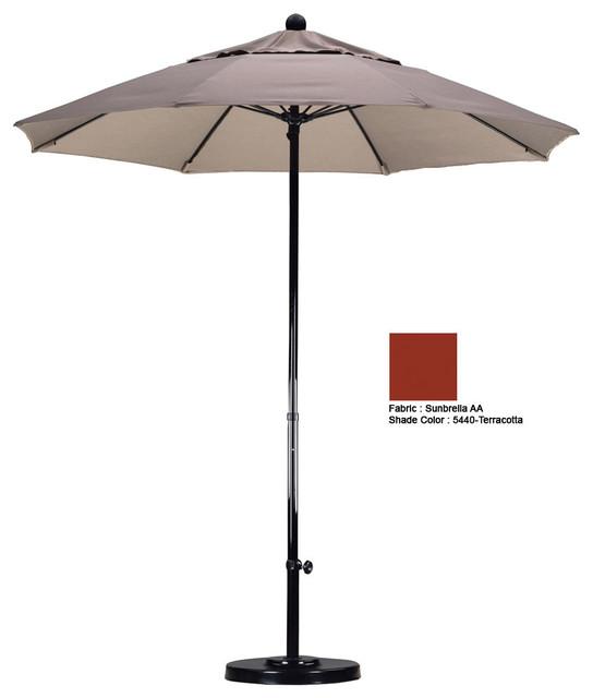 7.5 Foot Complete Fiberglass Market Pulley Open Patio Umbrella modern-outdoor-umbrellas