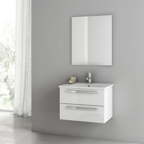 Amazing Salem White 24inch Bath Vanity With 2 Doors And White Marble Top