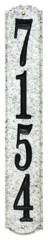 Solid Granite Address Plaque, Wexford Vertical, White Granite Natural modern-house-numbers