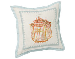 Bird Cage Pillow Cover, Orange modern pillows