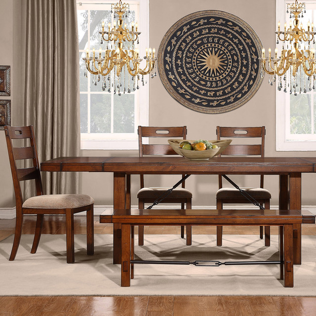 Rustic Oak Turnbuckle 6 Piece Dining Set Contemporary Dining Sets