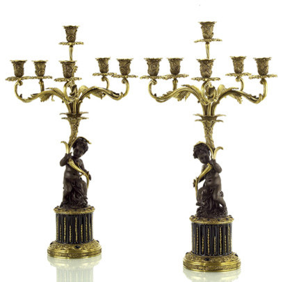 """John Richard 31x18""""Dia Grand Scale Bnz Cherub Right contemporary-candles-and-candle-holders"""