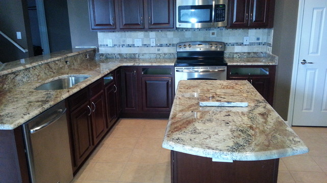 Sienna Bordeaux Granite Countertops - Traditional - Kitchen Countertops - tampa - by Elegant ...