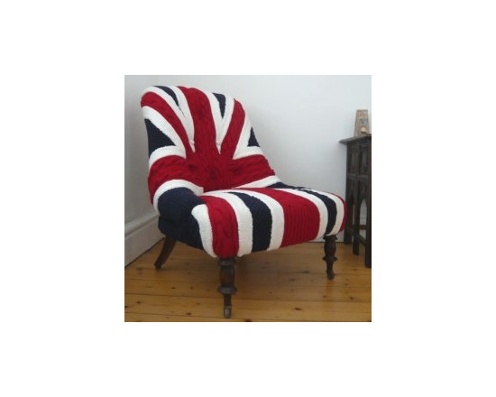 Eco Friendly Furnture and Lighting - Albert Knitted English Chair.Albert was a vintage, iron-back armchair transformed for a client looking for a feature piece for a living room. Covered in a bold handknitted, cabled Union Jack design, with deep-set crocheted buttons and varnished wood legs.