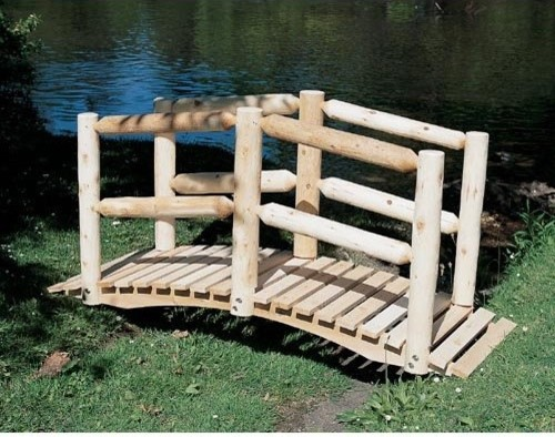 Lakeland Mills Clemons 5 ft White Cedar Log Garden Bridge Traditional Pa