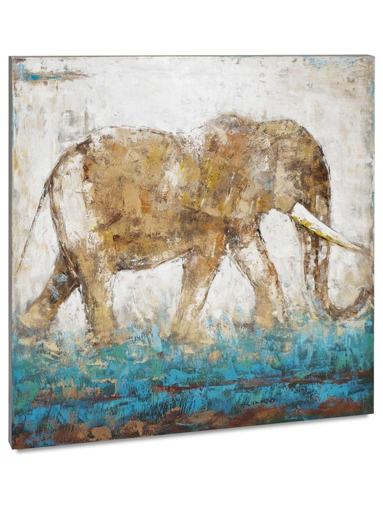 """Vertuu Design - 'Elephant in Motion' Artwork - A neutral color palette with a pop of turquoise makes the """"Elephant in Motion"""" Artwork a striking addition to a living or dining room. This hand-painted acrylic canvas features dry brush strokes and scumbling techniques for an intriguing, dynamic effect. Display it above a mantel or bed for a unique focal piece."""