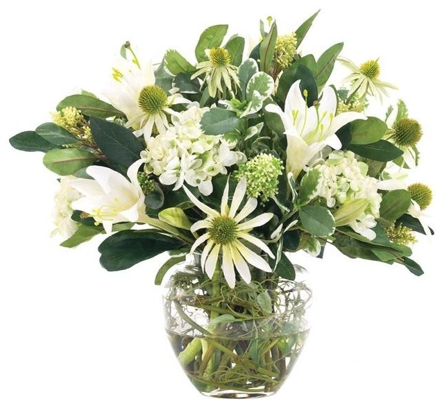 Hydrangea lily centerpiece 16 h traditional plants for Indoor decorative live plants
