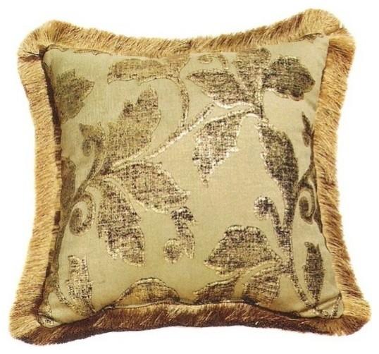 "Valerie Chenille Metallic Wash Leaf Pattern Print 20"" x 20"" Throw Pillow contemporary-pillows"