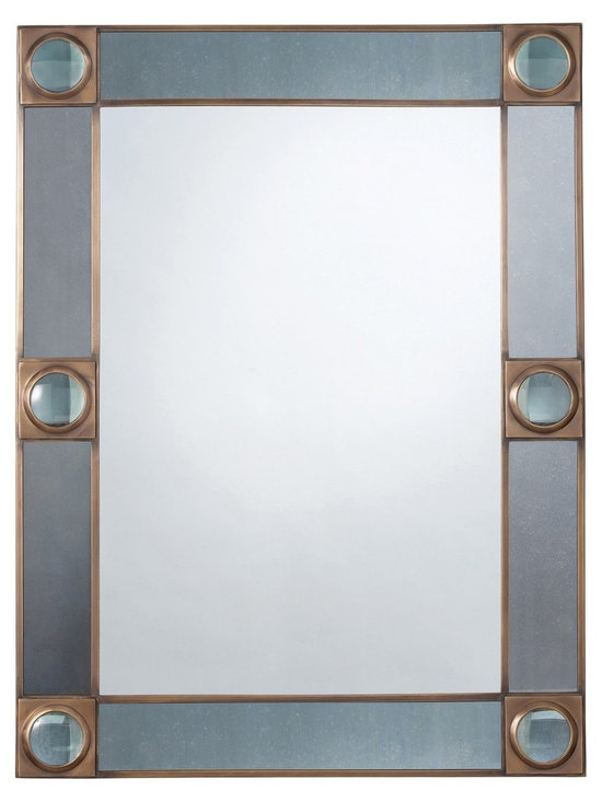 Arteriors Baldwin Mirror - A beautiful steel blue colored mirror frame accented with magnifying glass rounds set in antique brass. The center mirror is plain, so it is perfect for a hallway or powder room. Can be hung vertically or horizontally. http://www.plumgoose.com/arteriors-baldwin-mirror.html