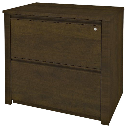 Bestar Prestige + 36 Inch Lateral File in Chocolate - Transitional - Filing Cabinets - by Cymax