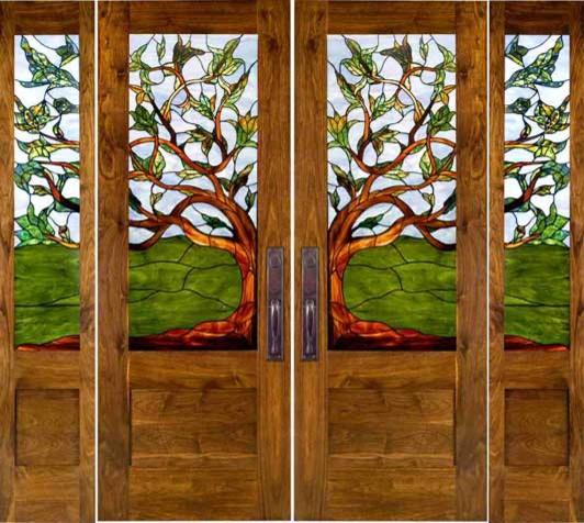 Stained Glass Doors eclectic-front-doors