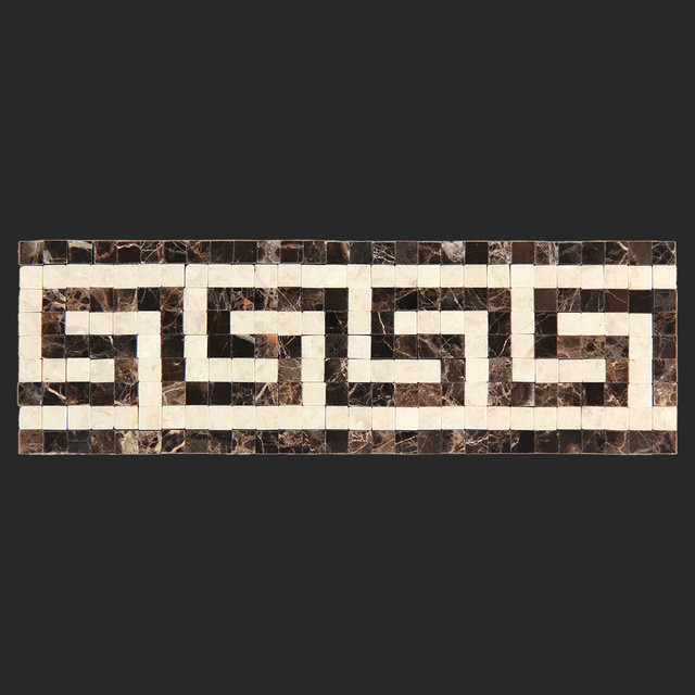 Crema Marfil Marble Tile Greek Key Border - Modern - Accent Trim And Border Tile - other metro ...