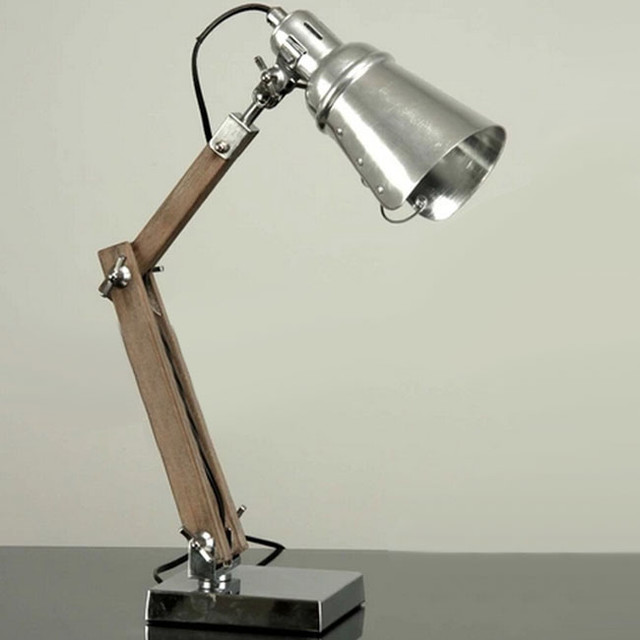 Handmade Loft Metal And Wood Table Lamp Industrial