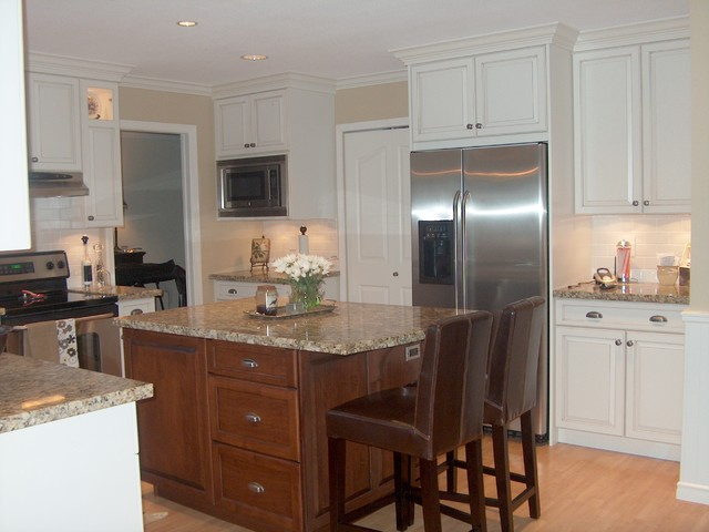 Contrasting Stained Wood and White Painted Cabinets kitchen cabinets
