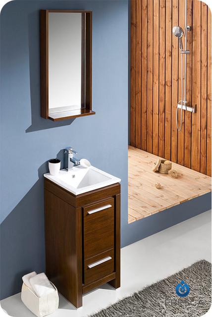 "15.75"" Allier Small Modern Bathroom Vanity w/ Mirror - Wenge (FVN8118WG) modern"