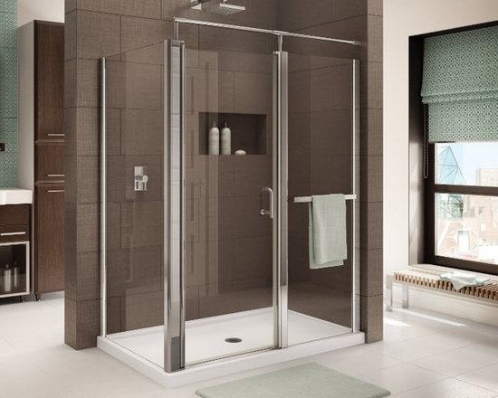 "Fleurco Banyo Sevilla In-Line RP 58"" x 48"" Frameless Corner Shower Enclosure E58 - Smooth hinge system makes opening easy"