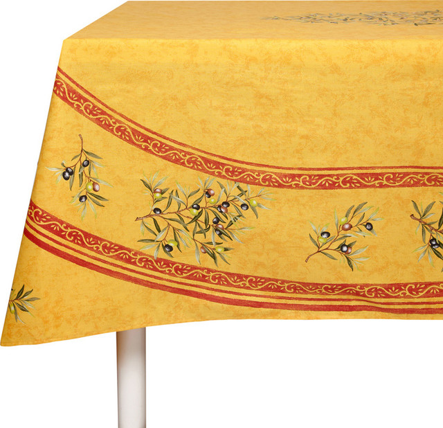 Oliviers Yellow Cotton Tablecloth - traditional - table linens ...